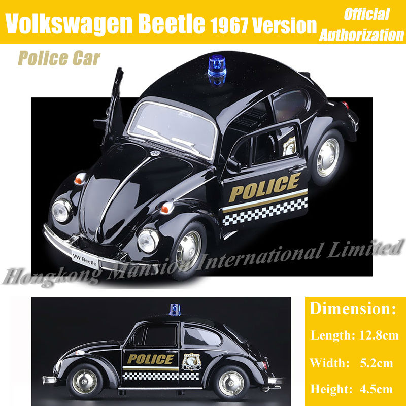 1:36 Scale Alloy Diecast Metal Classic Car Model For TheVolks wagen Beetle 1967 Collection Model Pull Back ForPolice Car Toys(China (Mainland))
