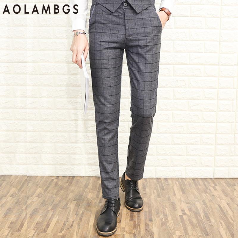 Popular Men Slim Fit Casual Plaid Pants-Buy Cheap Men Slim Fit ...