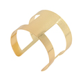 New Gold Plated Hollow Round Metal Open Arm Cuff Bangle for Women Men Alloy Charm Bracelet