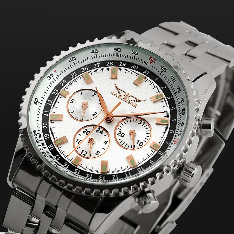 Смотреть автоматика мужские часы световой иглы многофункциональный нержавеющей стали мужчины бизнес случайный часы моды