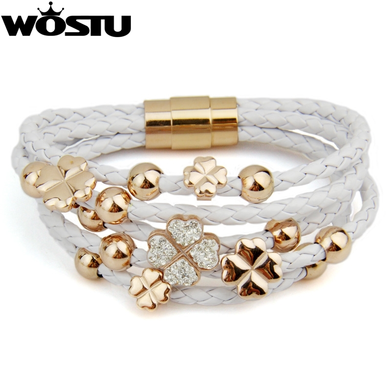 High Quality Leather Wrap Woven Crystal Charm 18k Rose Gold Plated Bracelet White for Women Fashion Jewelry XCJ0697(China (Mainland))