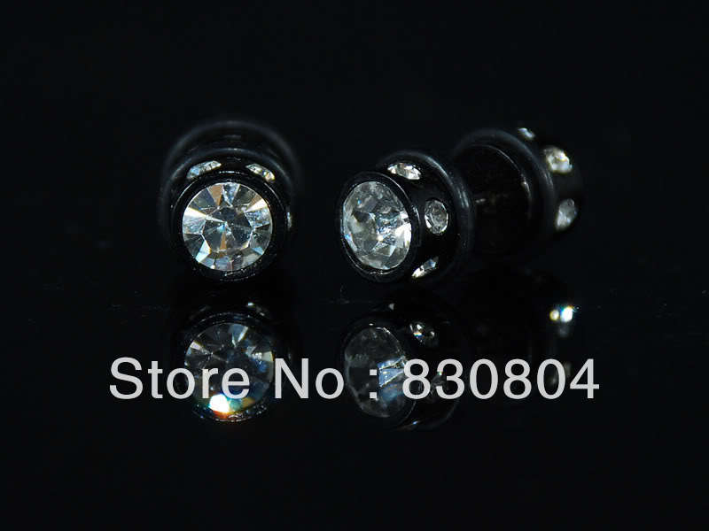 YYEA100010 2 side CZ black hiphop stainless steel earrings stud shiny gift mens new(China (Mainland))