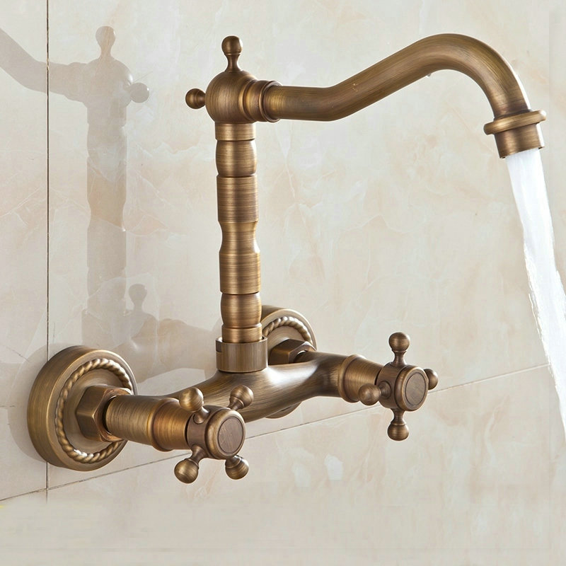 Vintage Wall Sink : kitchen sink mixer tap swivel faucet Antique Bronze fashion style wall ...