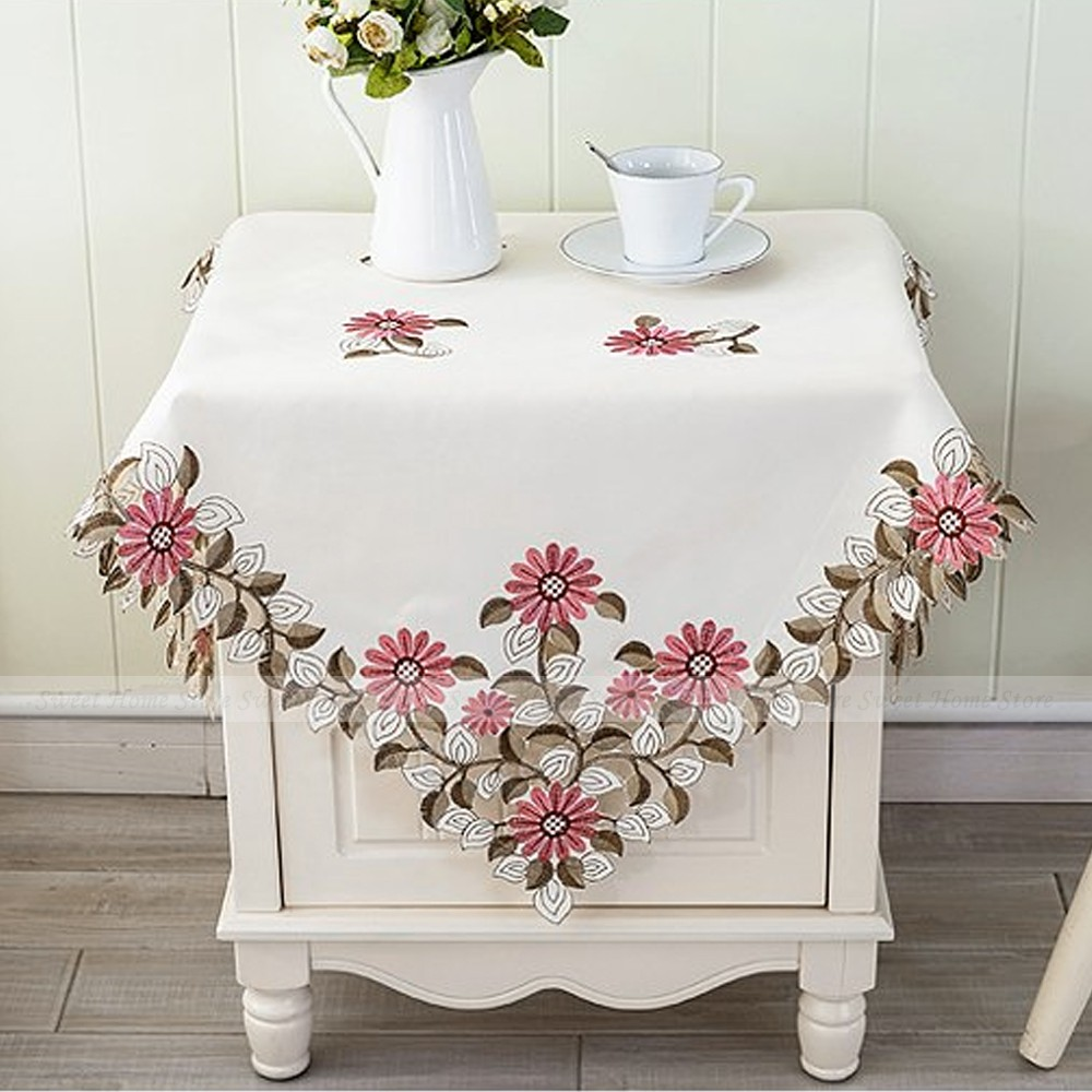 yazi Embroidered Pink Daisy Floral Cutwork Wedding Home Decor Tablecloth Square Table Cover 85x85cm(China (Mainland))
