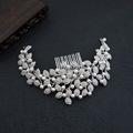 Generous Silver Rhinestone Leave Tiara Pearl Wedding Hair Comb Accessories Bridal Jewelry Headpiece