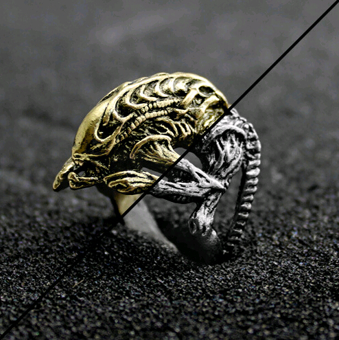 Wholesale, film television personality punk style ring alien series two kinds of color couples design rings for women(China (Mainland))