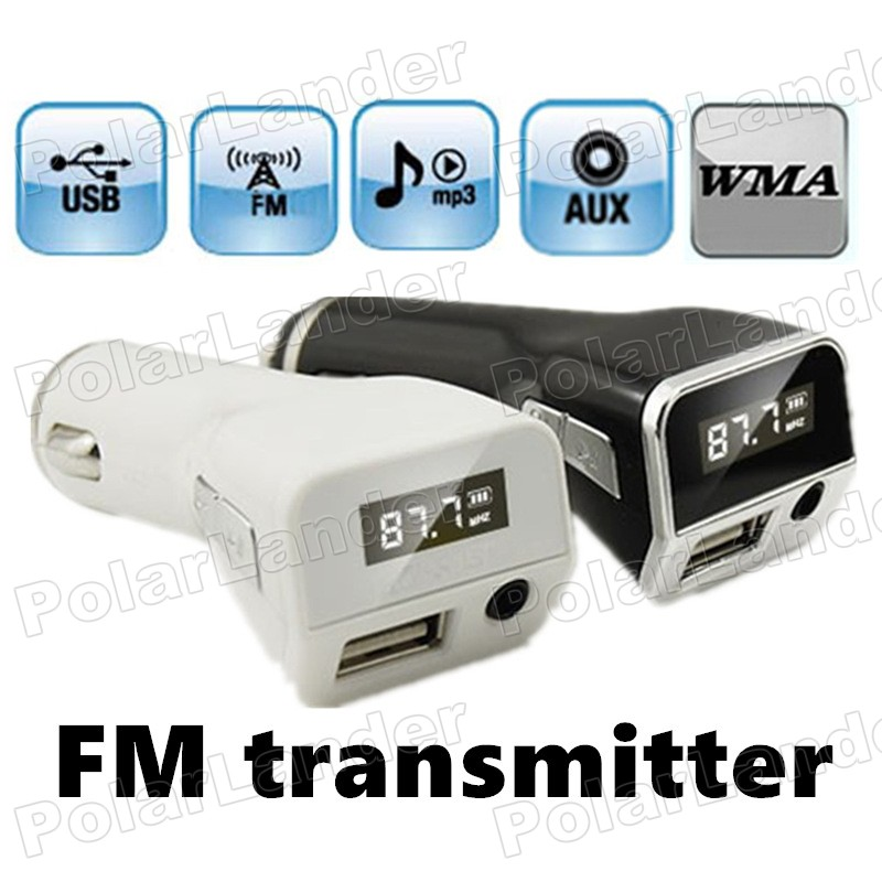 AUX Audio Input LCD screen USB Charger car kit MP3 Player FM Transmitter MultiFunction Modulator Support U disk black/white(China (Mainland))