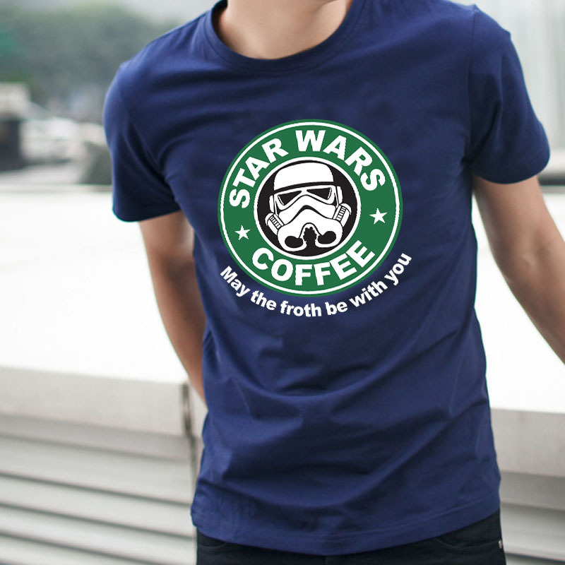 Star Wars Coffee Shirt Top Fashion Design Package Mail Man Made Of Pure Cotton Short Sleeve T-shirt(China (Mainland))