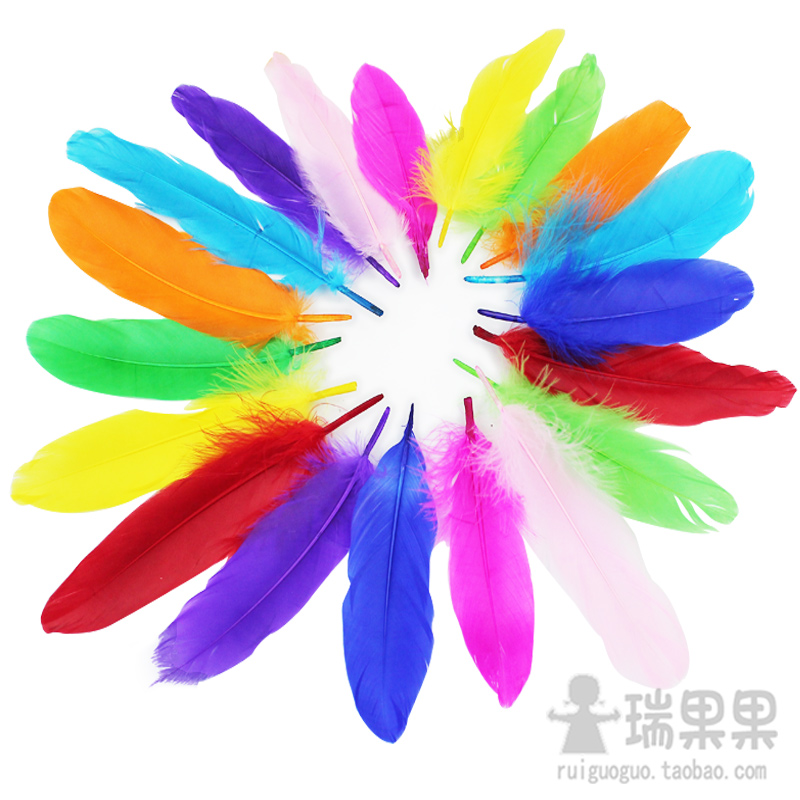 Masks, costumes hand-colored feather diy materials wholesale fruit Swiss children creative art and craft decoration courses(China (Mainland))