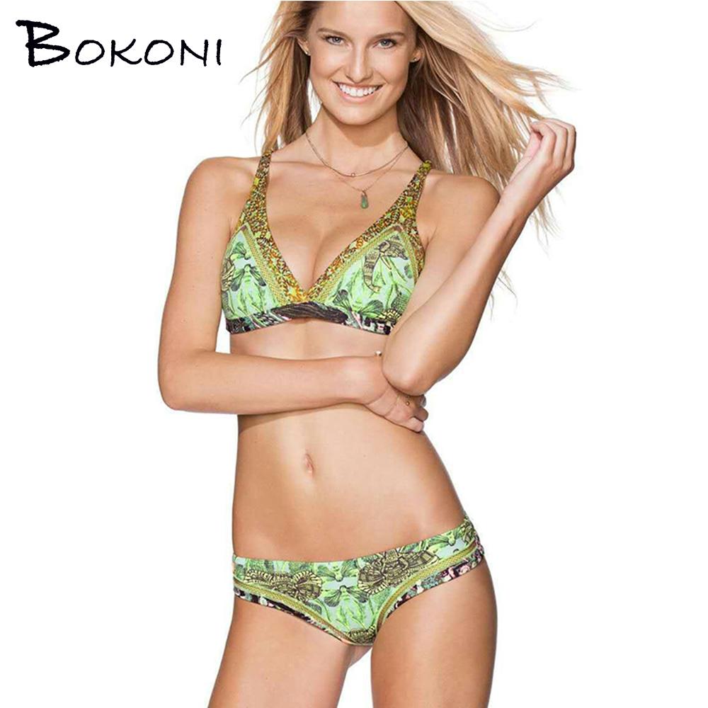 2017 Sexy Summer Bikinis Push-Up Halter Women Swimsuit Bandage Print Swimwear Green Bathing Suits Women Wear Biquinis Bikini Set(China (Mainland))