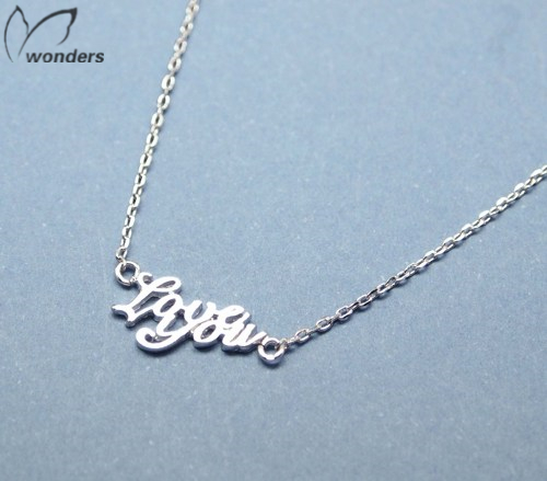 2015 Stainless Steel Charm Handwritting Letter Love You Romantic Pendant Necklace For Women Valentine Day Girlfriend Best Gift(China (Mainland))