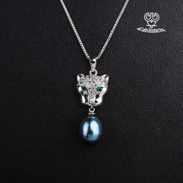 Women`s Sterling Silver Chain With 925 Silver Leopard Head Pendant Big Waterdrop Pearl Clavicular Chain AJ-TNN043<br><br>Aliexpress