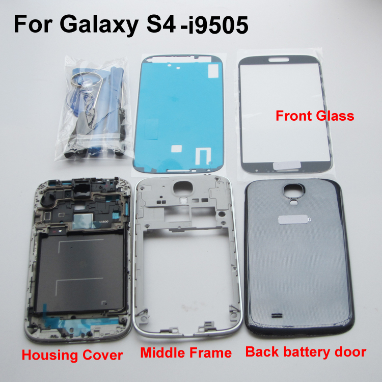 Generic Complete Black Housing Cover Frame Middle Chassis Door Back Case + Front Glass Screen for Samsung Galaxy S4 i9505(China (Mainland))