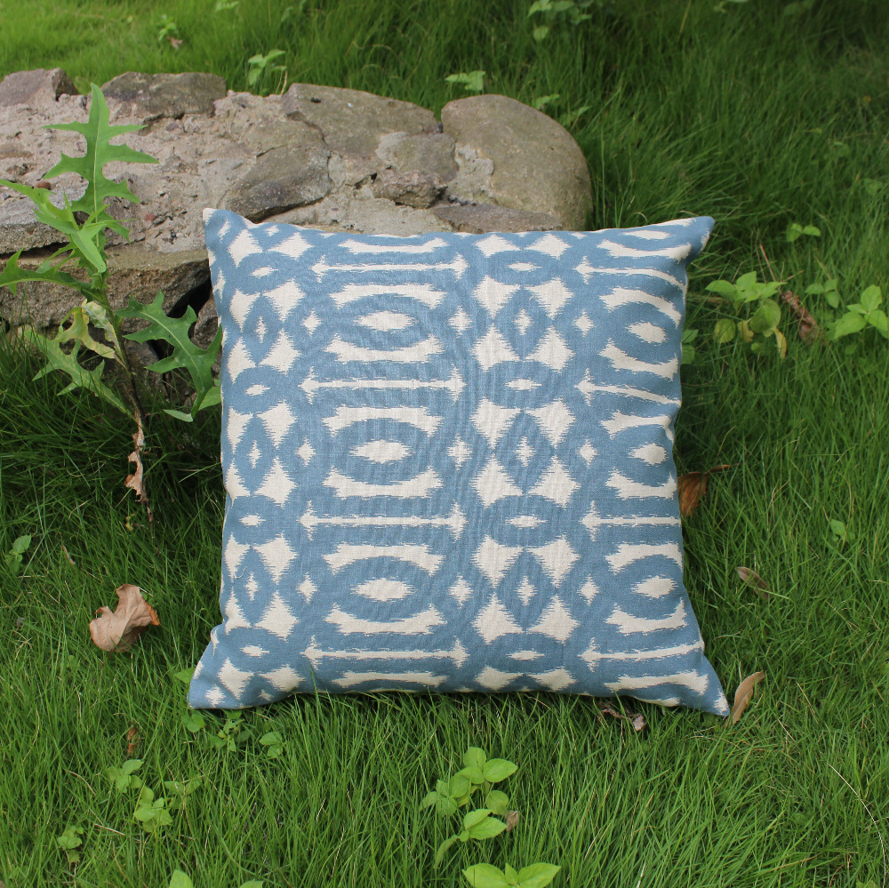 """free shipping new arrival only 1 piece blue geometric linen cotton cushions cover throw pillows cover case sofa chair18*18""""(China (Mainland))"""