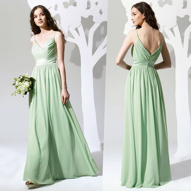 2015 chiffon long bridesmaid dress simple mint green elegant strap beach robe demoiselle d. Black Bedroom Furniture Sets. Home Design Ideas