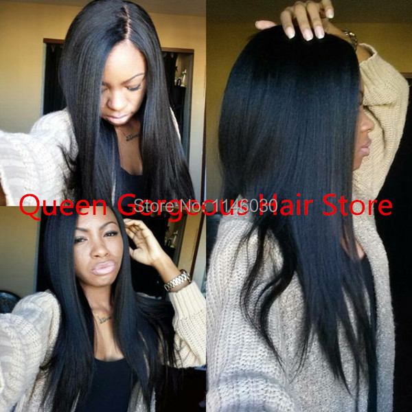 Gorgeous Queen hair products yaki Full Lace Wigs glueless/Front Lace Wig unprocessed100% Virgin Human Hair wigs for black women<br>