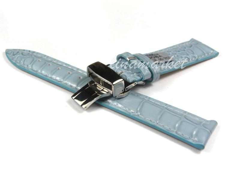 16mm (Buckle 14mm)Top-Grade Double click Butterfly buckle Blue Crocodile pattern Genuine Leather Watchbands BANDS Strap S101(China (Mainland))