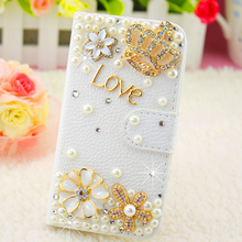 Meizu m2 Note, Luxury pearl diamond flower White PU leather Mobile phone bag Case for Meizu m2 Note Free shipping