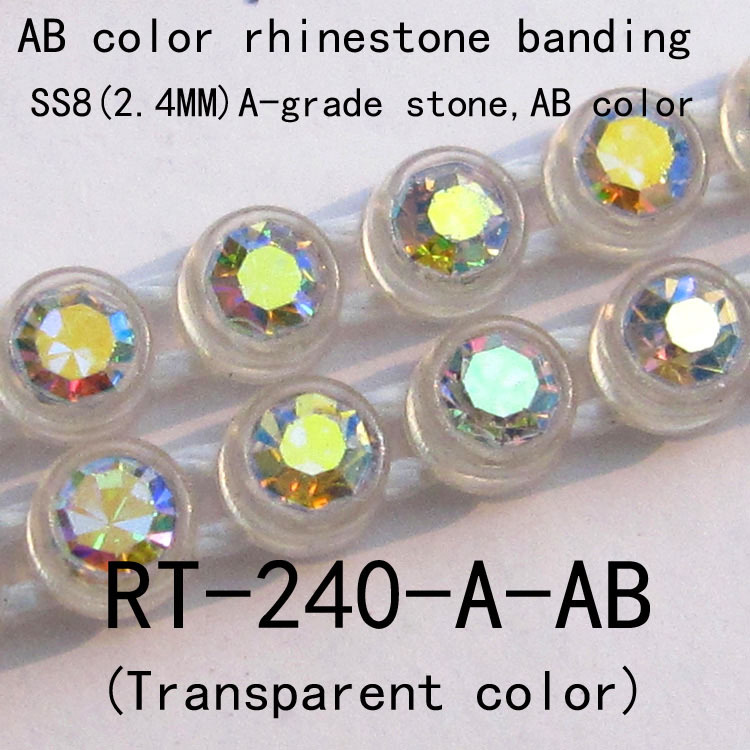 rainbow grade-A crystal rhinestone banding SS8, New arrived crystal cup chain for garment acccssory(RT-240-A-AB)(China (Mainland))