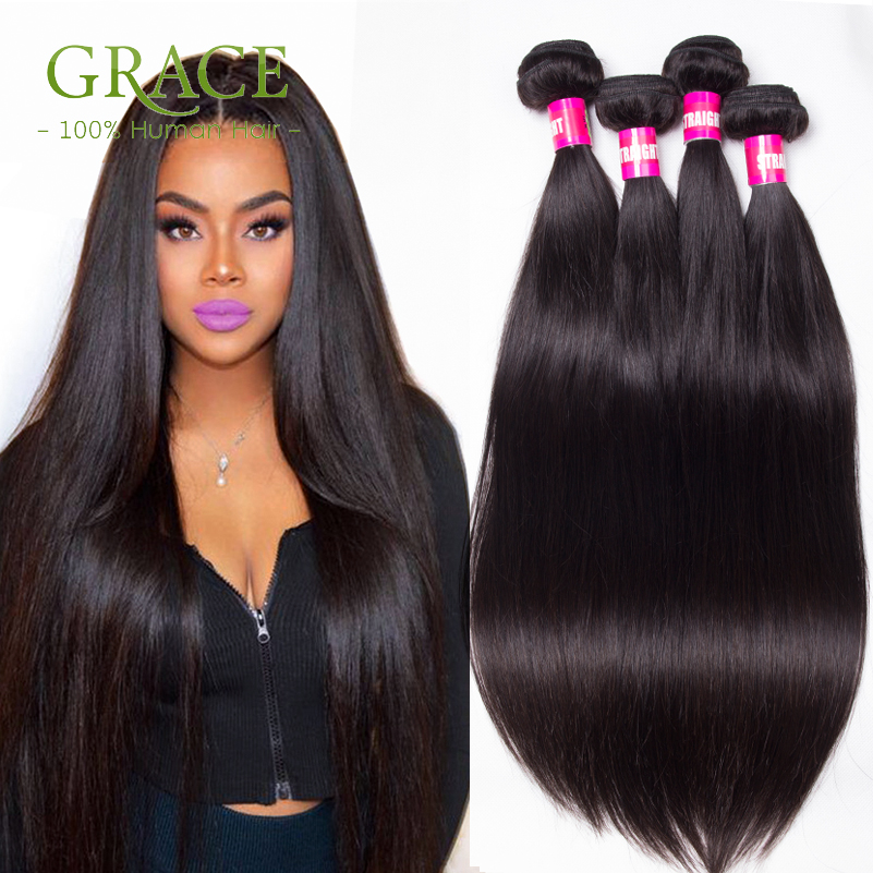 Peruvian Virgin Hair Straight 4 Bundles Deal Grace Hair ...