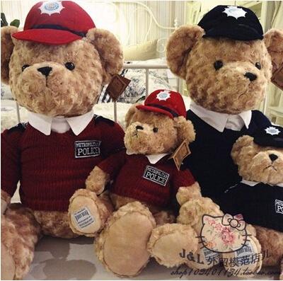 60CM Foreign trade Genuine RUSS London Royal Police Teddy Bear Wedding Bear plush toy birthday gift Valentine's Day gift(China (Mainland))