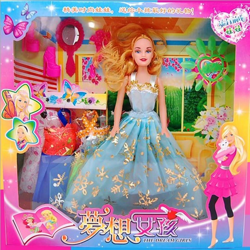 29 cm 4 jurk prinses gown + schoenen combinatie voor barbie poppen cadeau speelgoed meisjes spelen spel voor kinderen speelgoed pop gift diy baby speelgoed(China (Mainland))