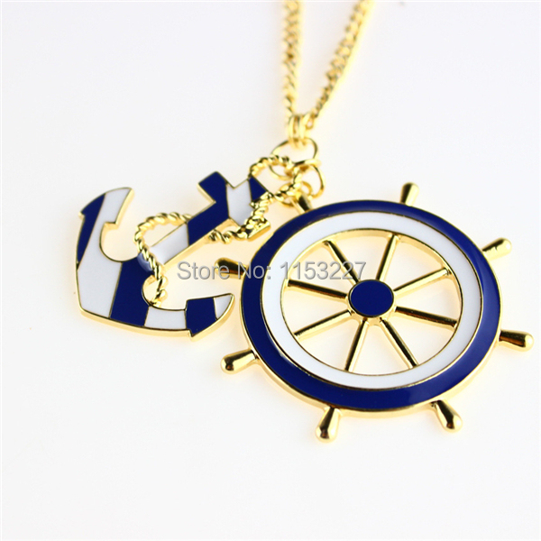 Free shipping 2016 cc bijoux marine navy style blue and white design long statement anchor rudder necklace pendants jewelry gift(China (Mainland))