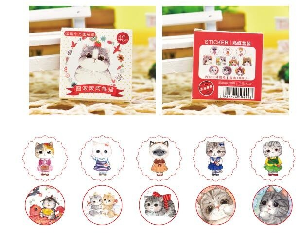 40pcs/lot Fat Cat Stickers Pack Post it Kawaii  Diy Scrapbook Sticky Stationery Material Escolar 2016 New School Supplies