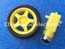 8lot 8set=16pcs 8pcs Deceleration DC motor +8pcs supporting wheels smart car chassis, motor / robot car wheels for arduino(China (Mainland))