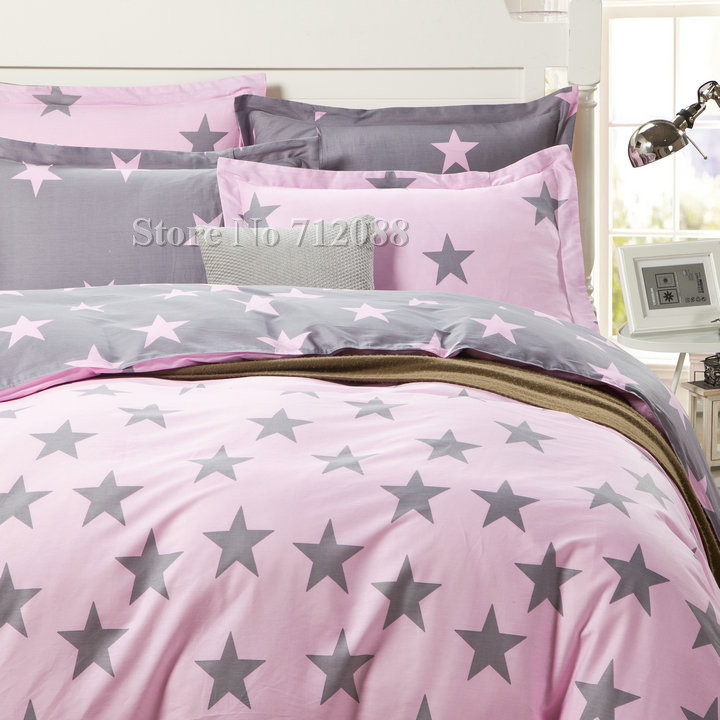 new arrivals 100% cotton Korean Style Pink Star Pattern Modern 4pcs full/queen quilt/duvet covers bedding sets,Wholesale(China (Mainland))