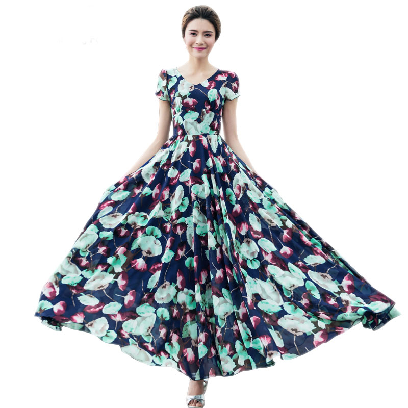 2016 New Spring Summer Maxi Chiffon Dress Women Plus Size Short Sleeve V-Neck Blue Floral Print Long Dress Vestidos 2100