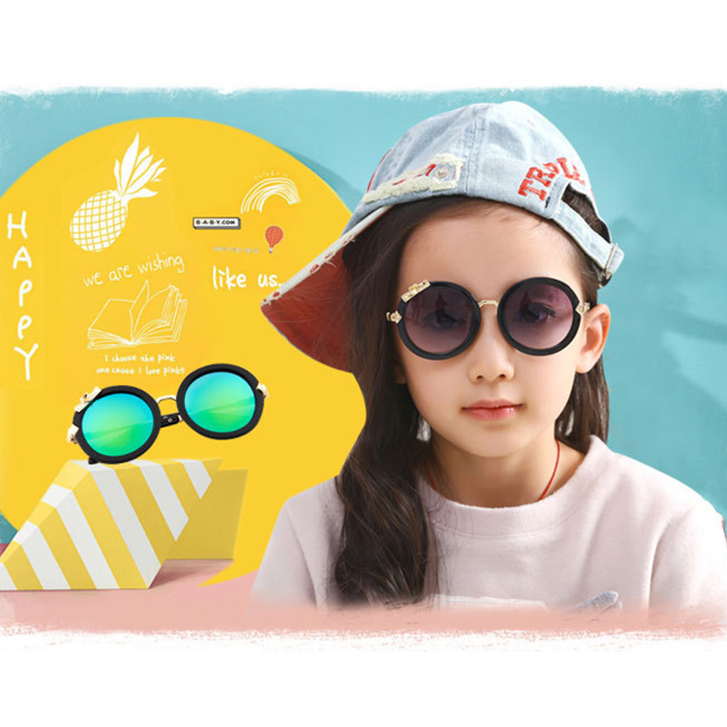2016 Fashion Children Sunglasses Korean Anti UV Mental Frame Plastic Glasses Round Cute Sweet Sunglasses Kids Glasses