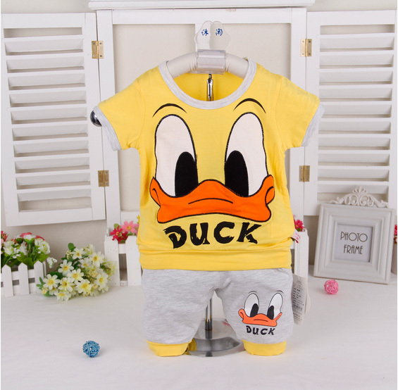 Donald Duck Tee & short 2015 children summer style toddler boys clothing sets summer baby boy clothes kids boys summer sets suit(China (Mainland))