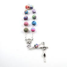 2016 catholic decade rosary 8 mm round colorful polymer clay bead(China (Mainland))