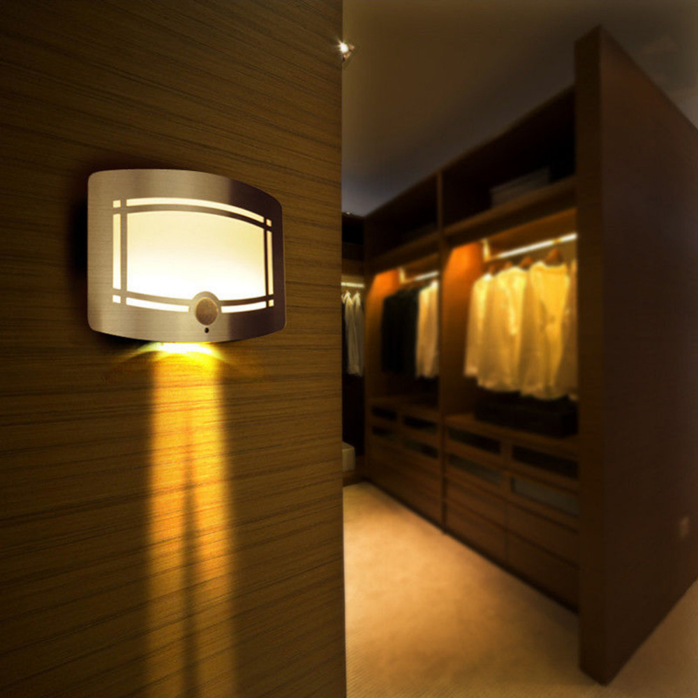 Battery Wall Sconces Home Lighting : 10 LED Motion Sensor Wireless Wall Light Operated Activated Battery Operated Sconce Wall Light ...