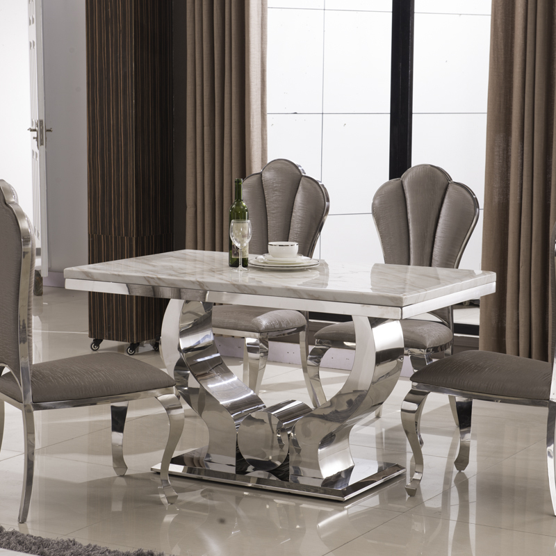 Stainless Steel Dining Table Marble