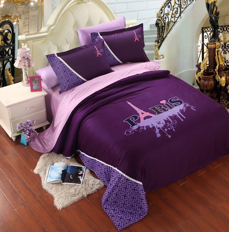 violet rose paris tour eiffel ensemble de literie roi. Black Bedroom Furniture Sets. Home Design Ideas