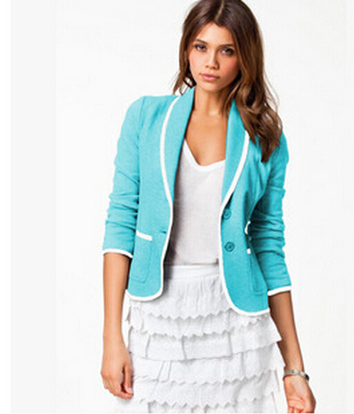 2015 blazer women one button ladies' candy suits blaser 5 color 7 sizes hot feminino - Mr Wu Shoes Trading Company Lt. store