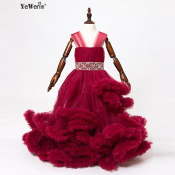 cloud flower girl dress Baby Cloudy long tail puffy Ball Gown Flower Children Dress Plus Size custom made dresses 2016