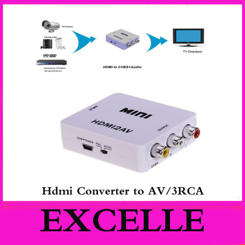 10pcs /lot 1080P Mini HDMI to Composite AV 3RCA CVBS S-video Converter Adapter DVD CRT TV PS3 TV(China (Mainland))