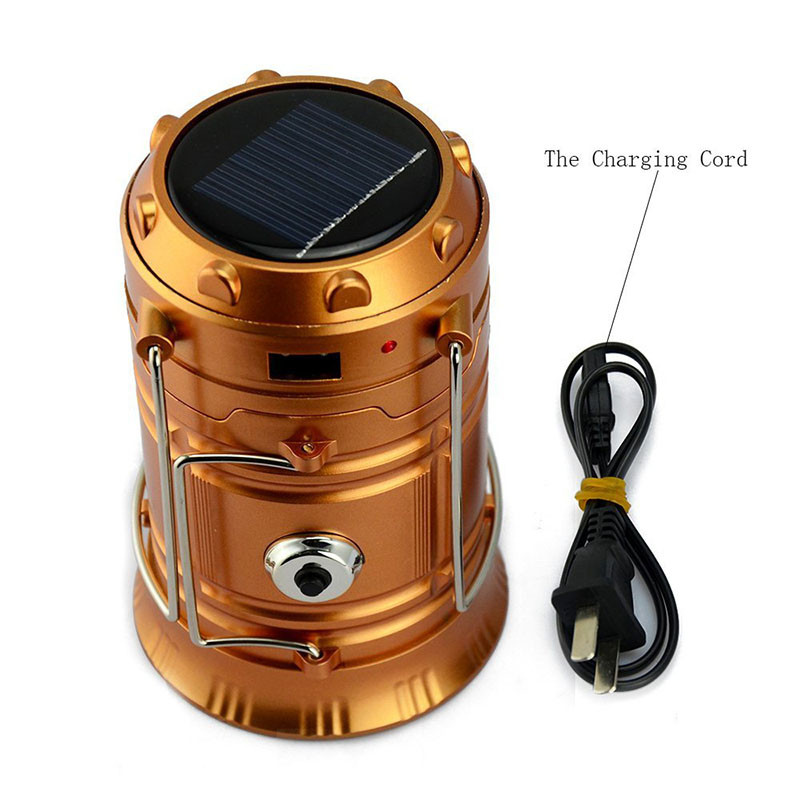 Camping Lantern LED Solar Rechargeable Camp Torch Light Flashlights Emergency Lamp Power Bank for Android Cell Phone IOS Iphone