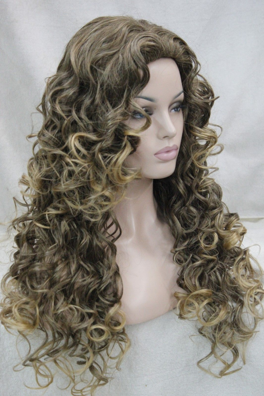 xiuli 0002237 fashion sexy brown mix golden blonde tip long curly womans full wig<br><br>Aliexpress