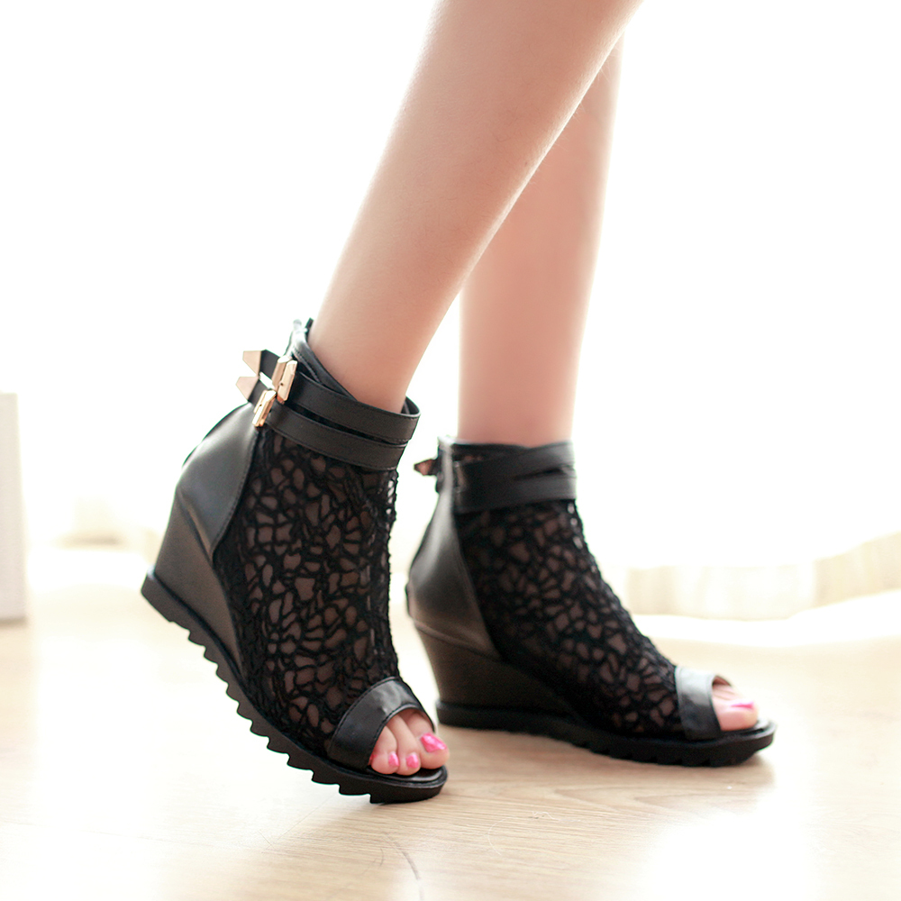 2014 New summer women's boots wedges shoes peep toes boots ...
