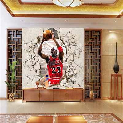 Corridor of 3d nba basketball star jordan gym background for Basketball mural wallpaper