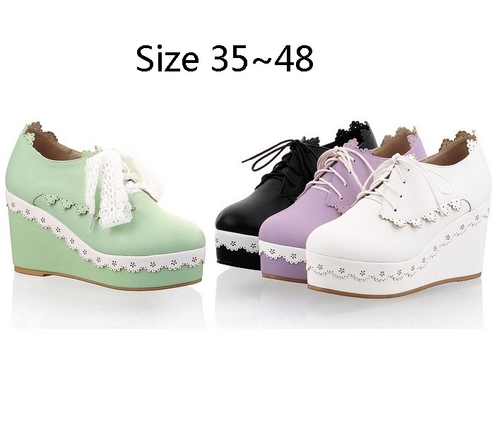 New style wedges women pumps fashion lace-up high heels shoes woman sapatos femininos chaussure femme Big yards size 35~48