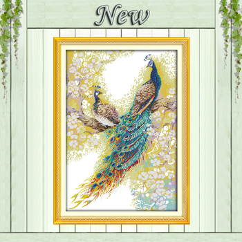 11CT 14CT unfinished embroidery Cross Stitch Set,The peacock couples lovers animal Needlework kits Home Decor DMC Cross-Stitch
