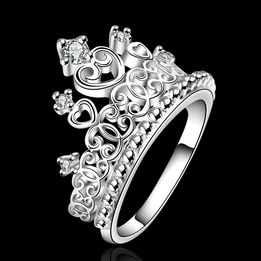 R629 fashion crown design rings , inlaid stones 925 silver rings , factory direct sale wholesale , luxurious style jewlery(China (Mainland))