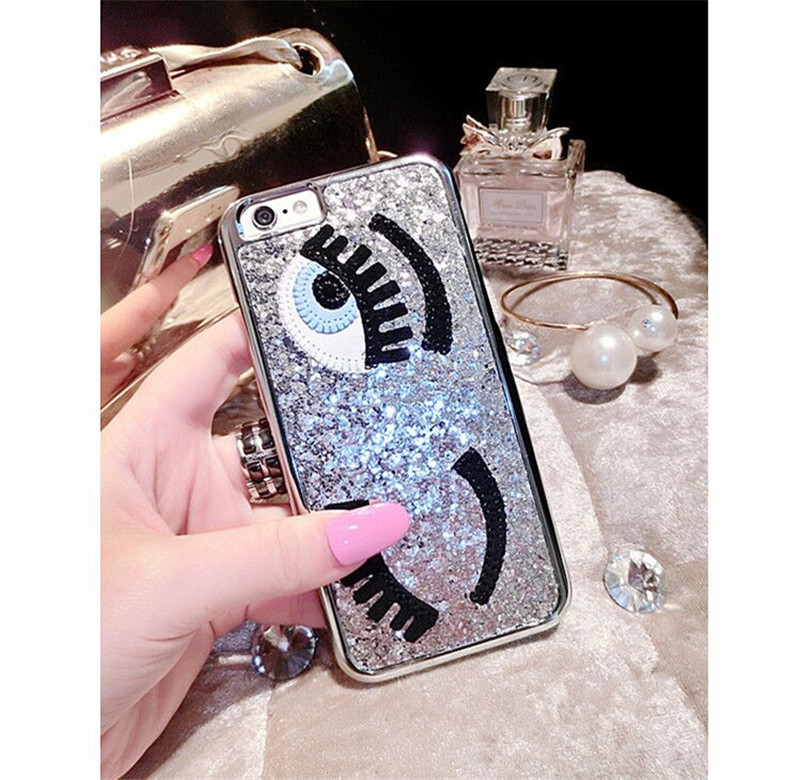 For apple iphone 5 5s 6 6s 6 plus 6s plus Miss Chiara Ferragni Sequins Following Blinking Eyes Phone Case Cover Fashion PVC(China (Mainland))