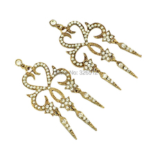 bohemian Korea style Bronze Alloy Hollow Out Carving Heart Flower White small Beads Rhinestone  Earrings for women jewelry(China (Mainland))