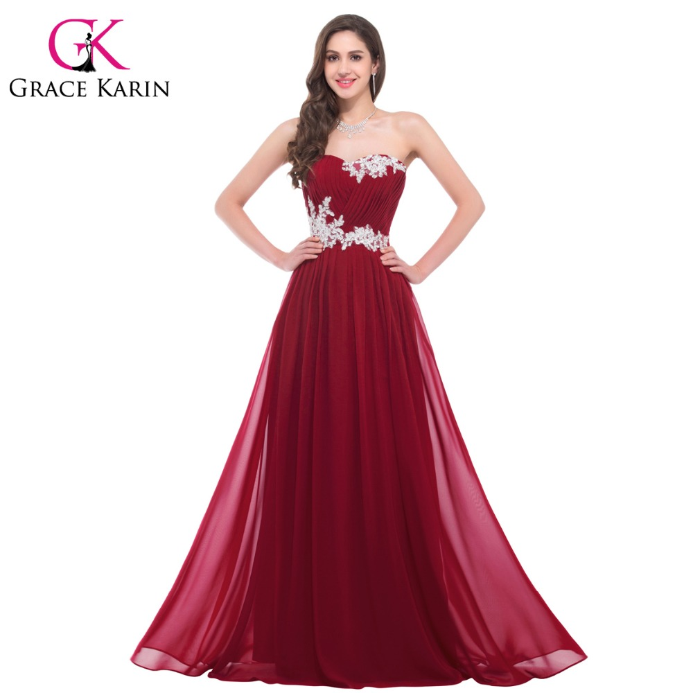 Grace Karin Long Bridesmaid Dresses 2016 Beading Sequins Floor Length Sweetheart Green Red Pink Blue Robe De Soiree Prom Dress - Collection store